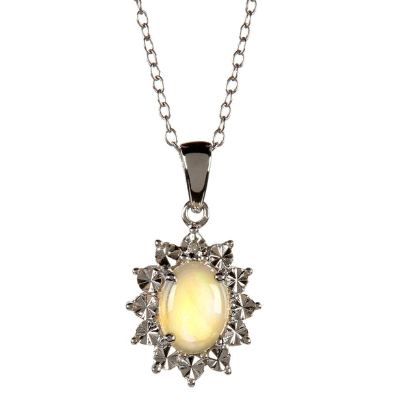 White Diamond and Opal Pendant