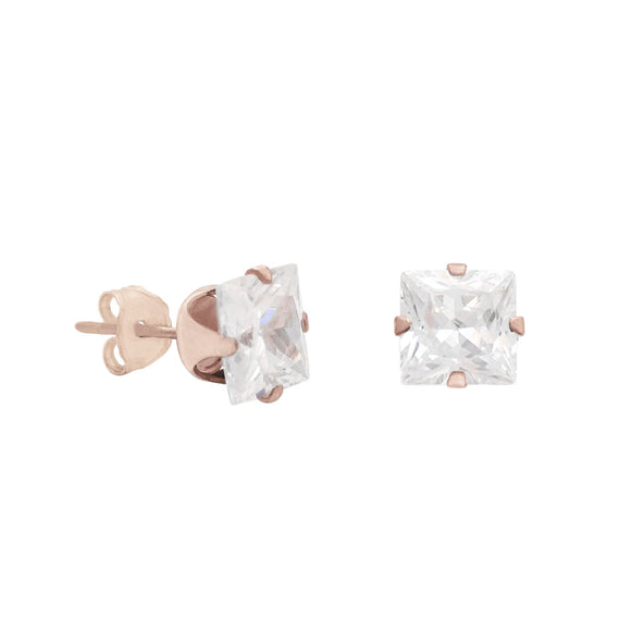 18K Rose Gold Princess Cut CZ Stud Earrings