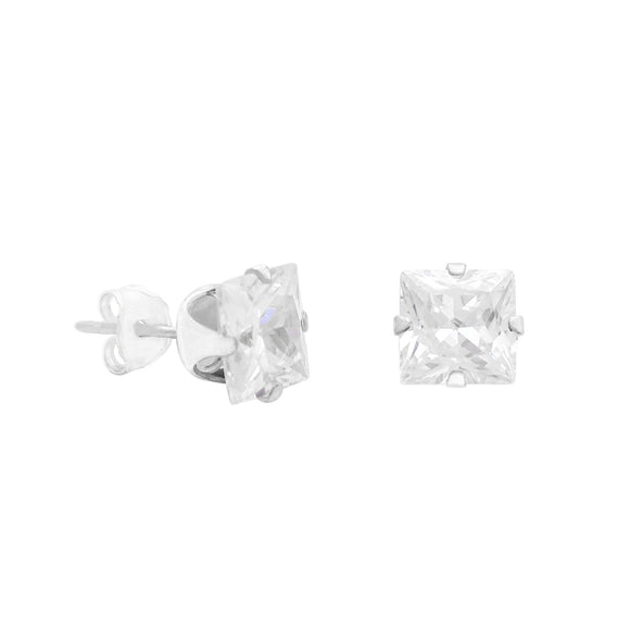 Sterling Silver Princess Cut CZ Stud Earrings
