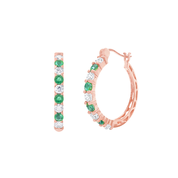 18K Genuine Emerald & White Topaz Rose Gold Hoops