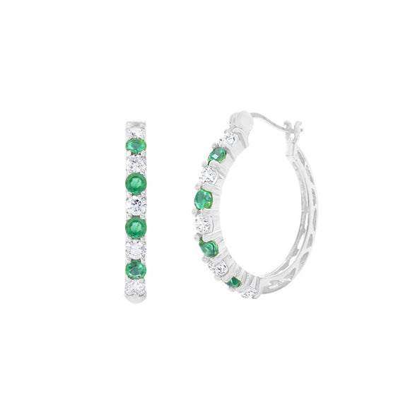 Genuine Emerald & White Topaz Sterling Silver Hoops