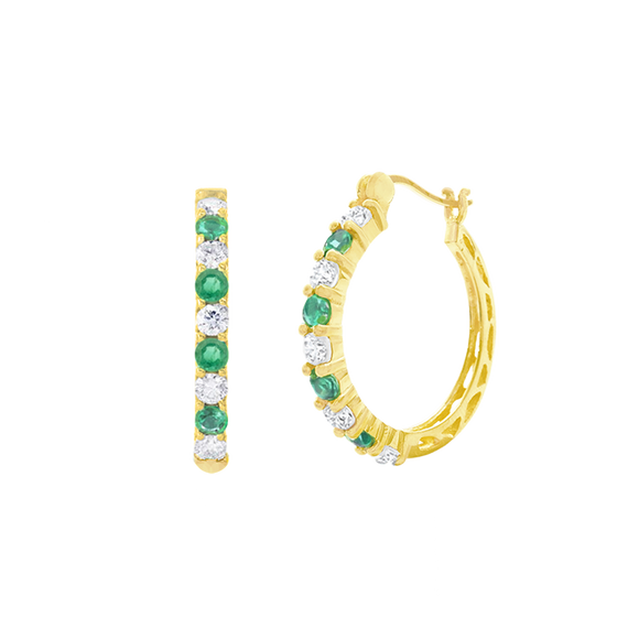 18K Genuine Emerald & White Topaz Yellow Gold Hoops