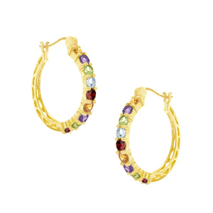 18K Semi Precious Gemstone Rainbow Yellow Gold Hoops