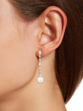 Pearl & Multi CZ Dangle Stud Earrings