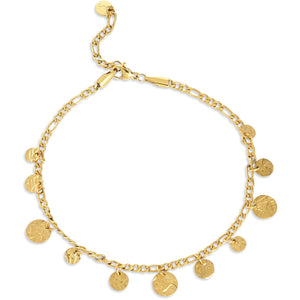 18K Gold plated coin dangle anklet