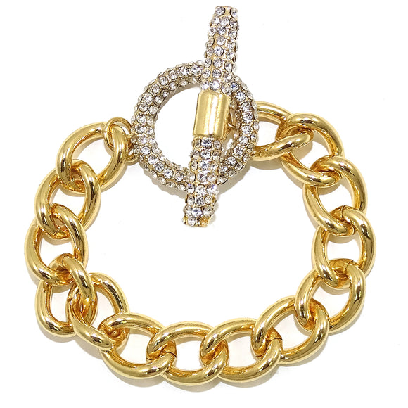 Cuban Link CZ Pave Toggle Yellow Gold Bracelet
