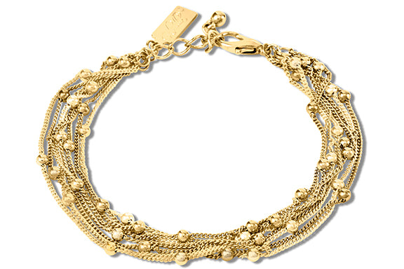 14K Gold Plated Multi Strand Bracelet