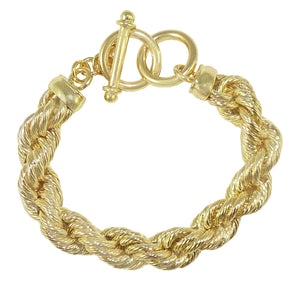18K Gold Plated Bold Rope Toggle Bracelet