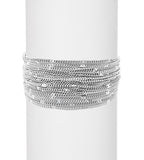 Multi-Strand Sterling Silver Hammered Disc Fashion Cuff