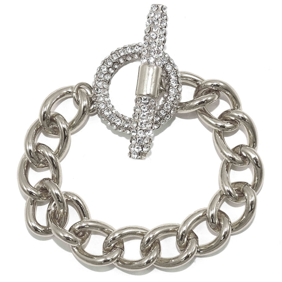 Cuban Link CZ Pave Toggle White Gold Bracelet