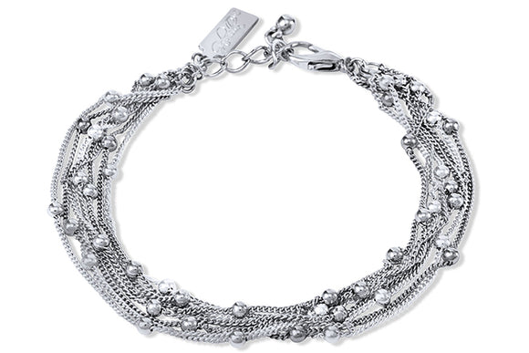 Rhodium Plated Multi Strand Bracelet