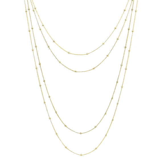 Multi-Layer 14K Yellow Gold Italian Bead Necklace