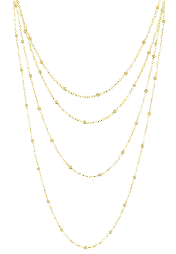 14K Gold Plated 4 Layer Necklace
