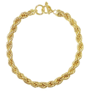18K Gold Plated Bold Rope Toggle Necklace