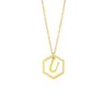 18k Hexagon Inital Pendant Necklace -(Multiple Options) - click on full details to view all