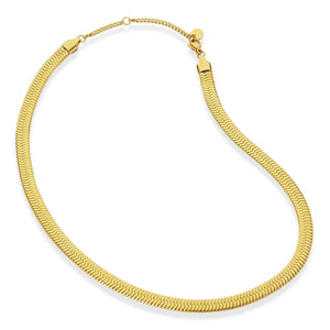 18K Gold Plated Herringbone Wide Chain Necklace
