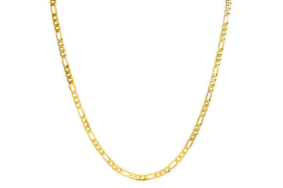 18K Gold Plated 3mm Figaro Necklace