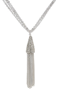 "Rhodium Plated 32"" Long Multi Chain Crystal Tassel Necklace"
