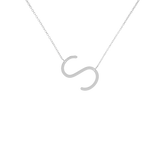 Rhodium Statement Inital Letter Necklace - Multiple Options