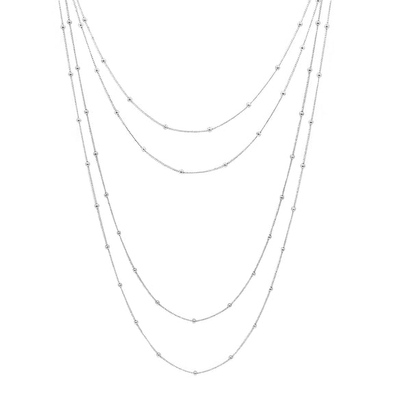 Multi-Layer Sterling Silver Italian Bead Necklace