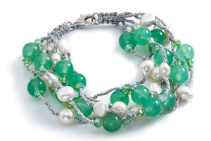 Sea foam green agate and fresh water pearl bracelet
