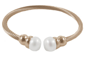 14K Rose Gold Plated Stainless Steel Cable FW Pearl Bracelet