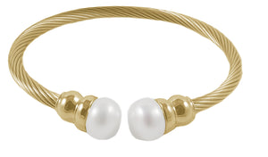 14K Gold Plated Stainless Steel Cable FW Pearl Bracelet