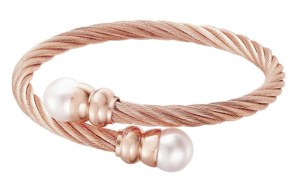 14K Rose Gold Plated Stainless Steel Crossover Cable FW Pearl Bracelet