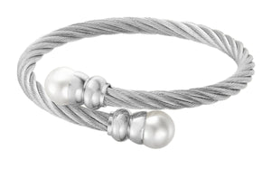 Stainless Steel Crossover Cable FW Pearl Bracelet Cultured Freshwater Pearl