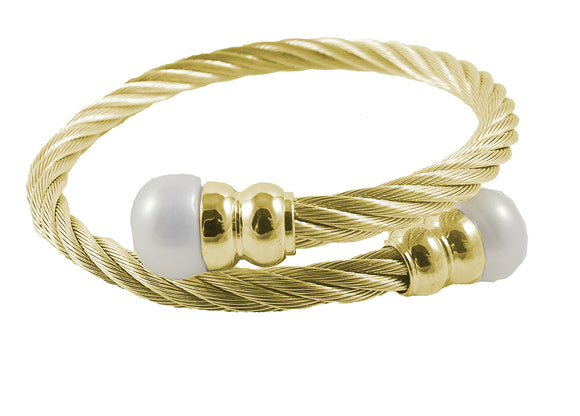 14K Gold Plated Stainless Steel Crossover Cable FW Pearl Bracelet
