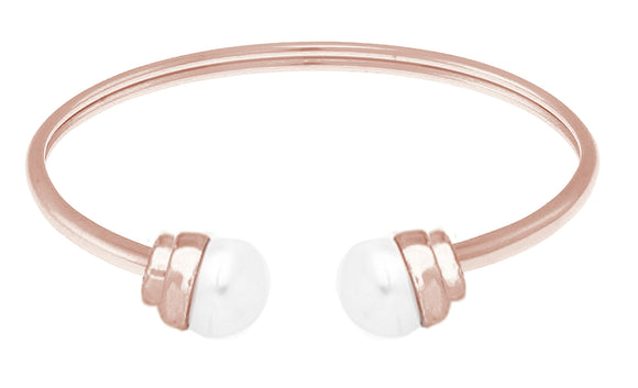 14K Rose Gold over Stainless Steel Flexible FW Pearl Bangle