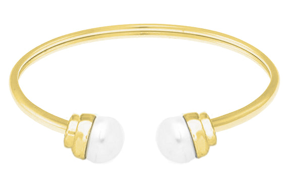 14K Gold over Stainless Steel Flexible FW Pearl Bangle