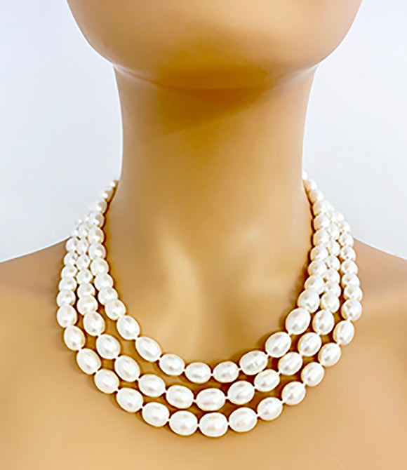 White Freshwater Pearl 3 Strand Classic Necklace