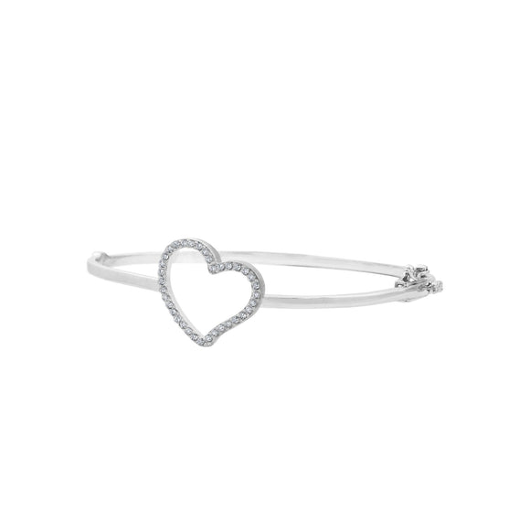 Sterling Silver CZ Heart Hinged Bangle