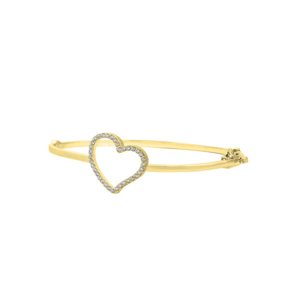 18K Yellow Gold CZ Heart Hinged Bangle