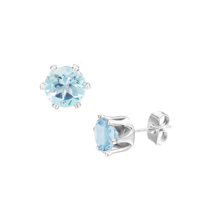 Sterling Silver Sky Blue Topaz Stud Earrings