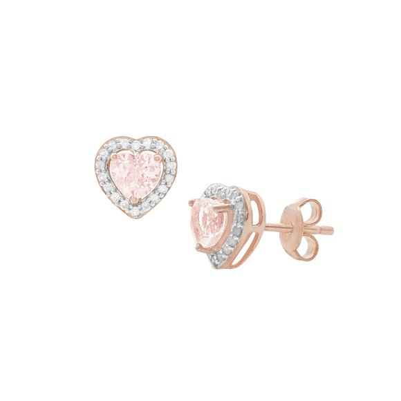 14K Morganite & Diamond Heart Studs
