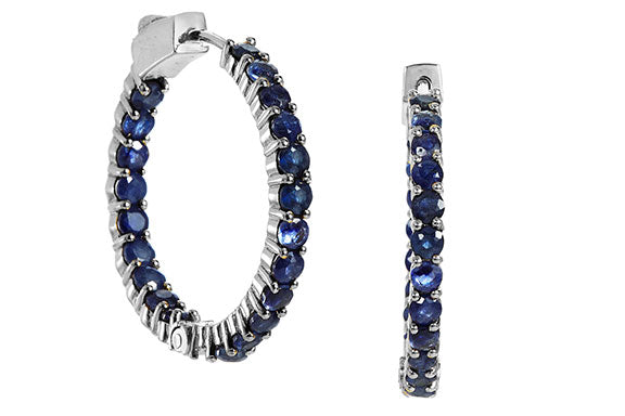Genuine 7.50 Carat Blue Sapphire Inside Out Hoops