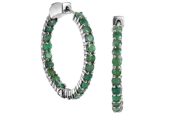 Genuine 4.95 Carat Emerald Inside Out Hoops