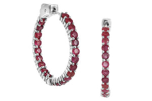 Genuine 7.00 Carat Ruby Inside Out Hoops