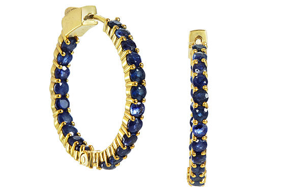 18K Gold Plated Genuine 7.50 Carat Blue Sapphire Inside Out Hoops