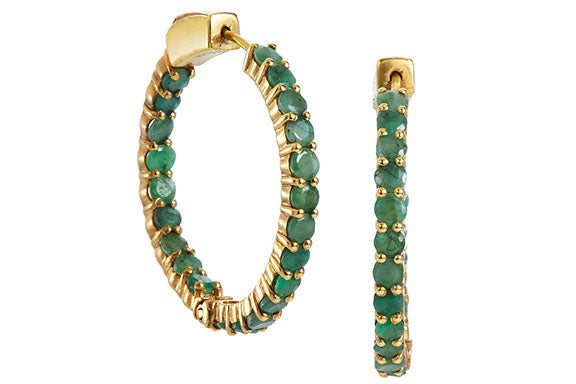 18K Gold Plated Genuine 4.95 Carat Emerald Inside Out Hoops