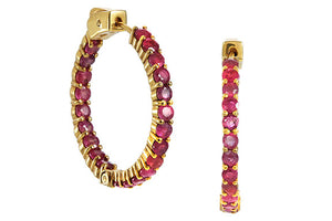 18K Gold Plated Genuine 7.00 Carat Ruby Inside Out Hoops