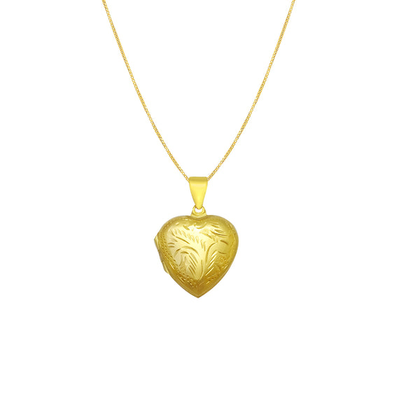 Retro Etched Heart Picture Locket