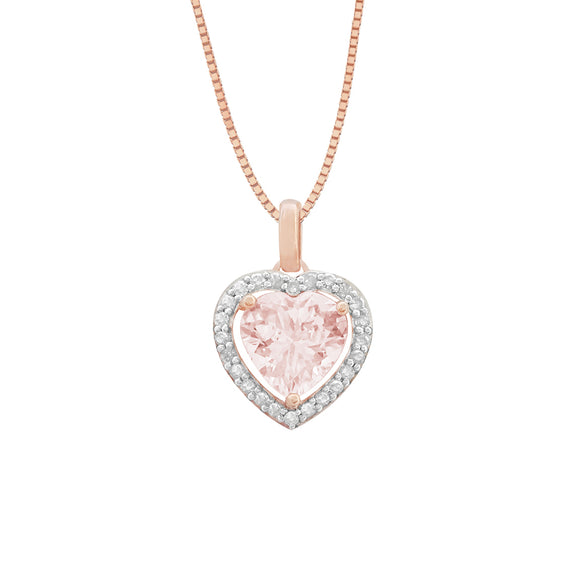 14K Morganite & Diamond Heart Necklace