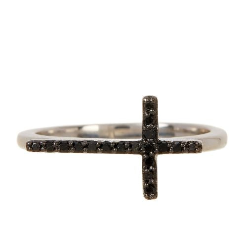 Black Diamond Cross Ring