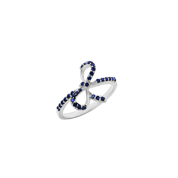 Blue Diamond Pave Ribbon Bow Ring