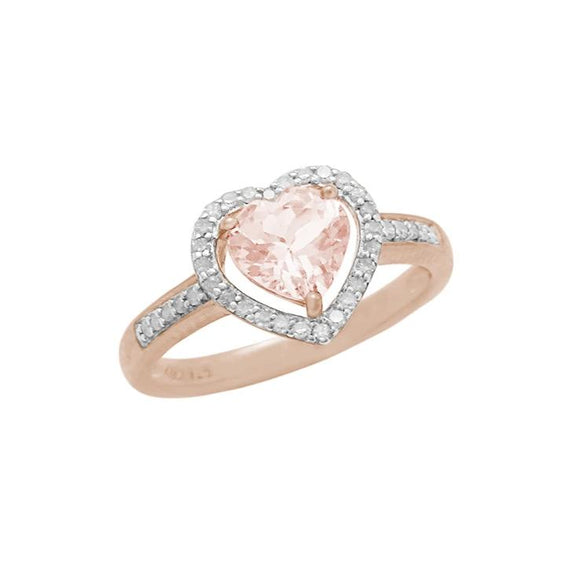 14K Morganite & Diamond Heart Ring