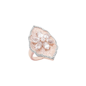 Morganite & Diamond Shield Vermeil Ring
