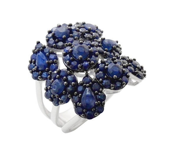 6.25TGW Blue Sapphire Cluster Statement Ring